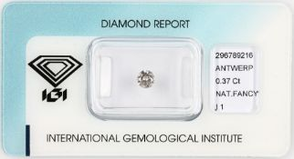 Sealed brilliant 0.37 ct , natural Fancy Light Brownish Pink/p 1, IGI expertise Valuation Price: