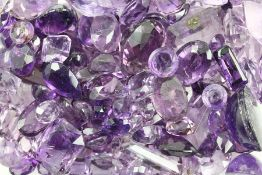 Lot loose amethysts total approx. 439 ct , different shapes, colours, sizes and cutsLot lose