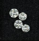 Lot 4 loose diamonds total approx. 1.06 ct ,3 x Top Wesselton/si, 1 x Wesselton/p (flawed) Valuation