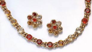 18 kt gold jewelry set with fire opals , YG 750/000, comprised of: Necklace l. approx. 45 cm, S-