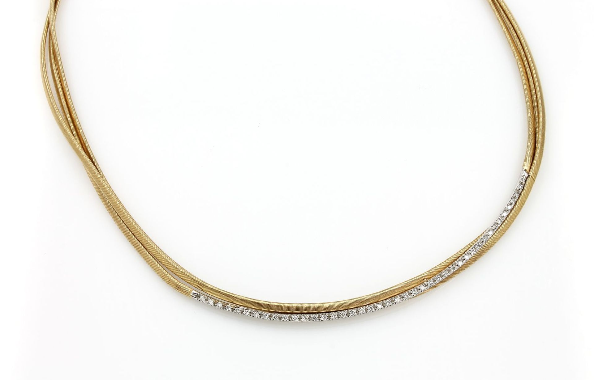 Los 61519 - 18 kt gold MARCO BIGEGO spaghetti necklace with brilliants , YG/WG 750/000, 3-rowed, brilliants