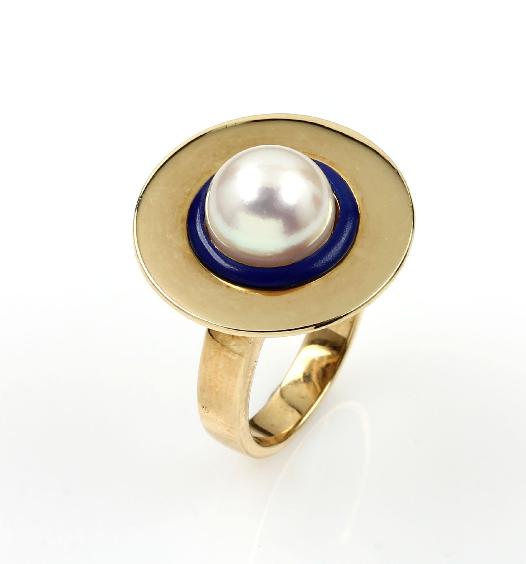 Los 61544 - 18 kt gold ring with cultured pearl and lapis lazuli , YG 750/000, centered rose colored pearl diam.