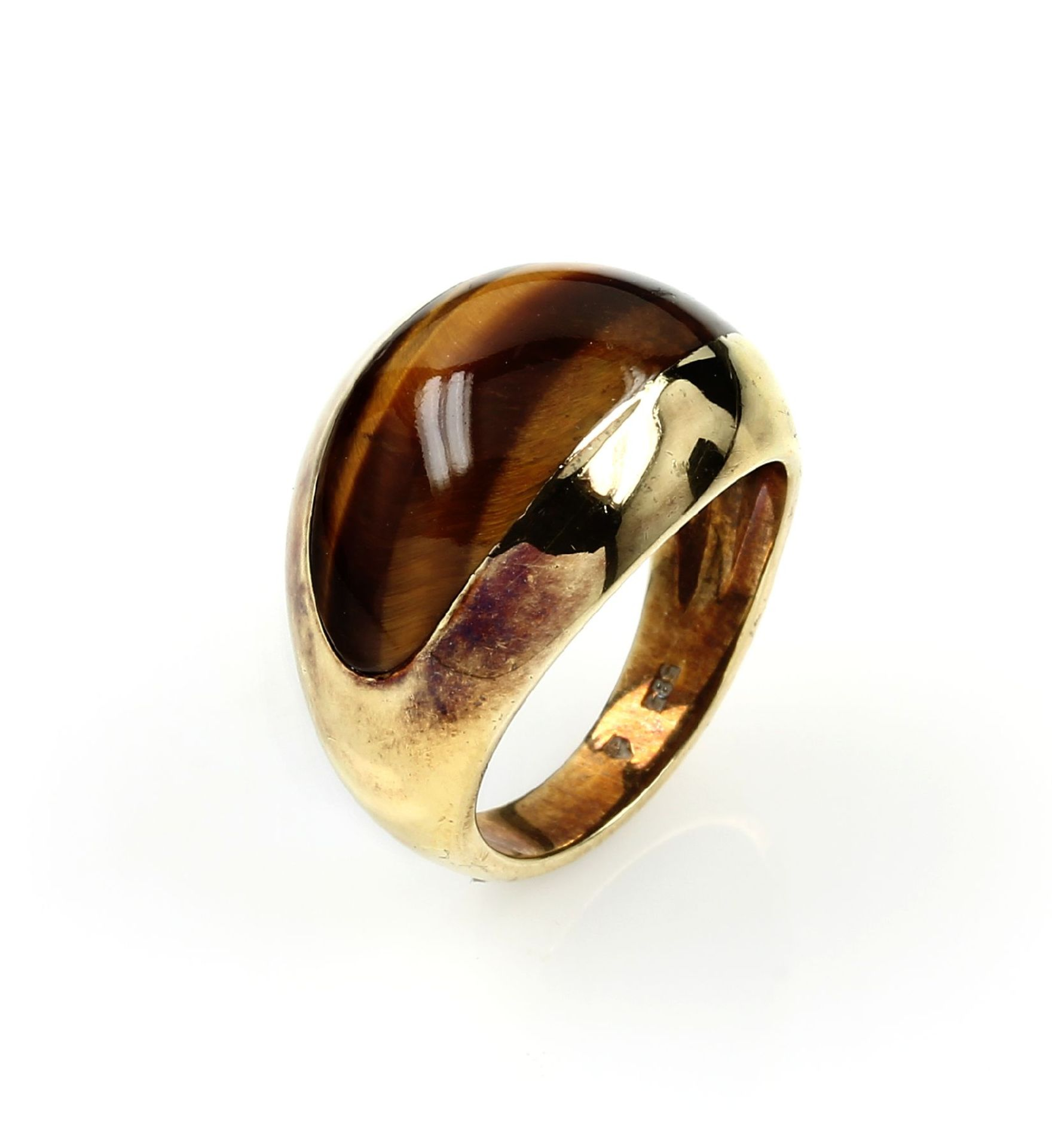 Los 61554 - 18 kt gold ring with tiger's eye , YG 750/000, centered tigers eye inlay, ringsize 52, approx. 8.2