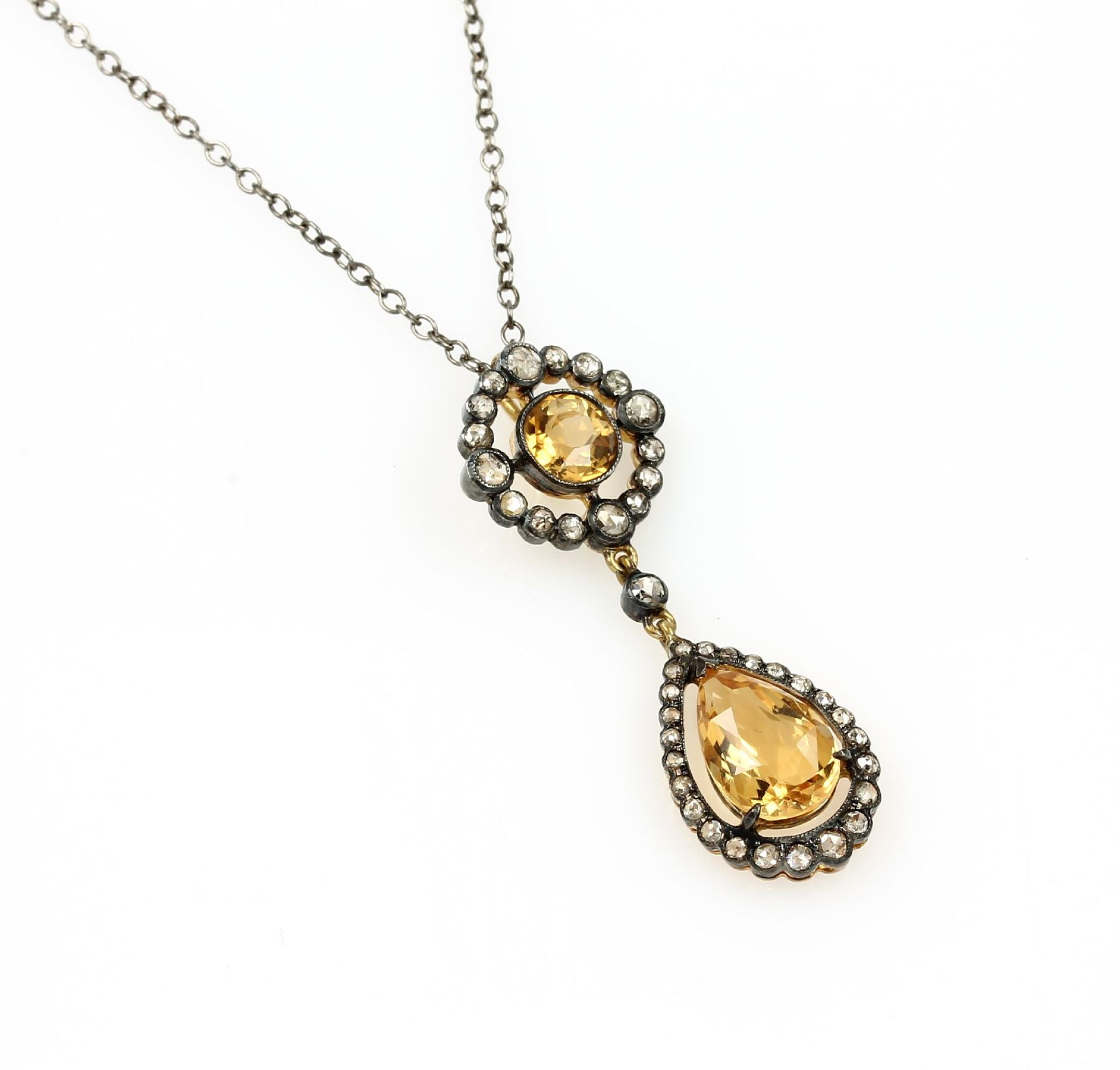 Los 61548 - Pendant with diamonds and citrines , 925er silver partly gilded, round bevelled and pearformed