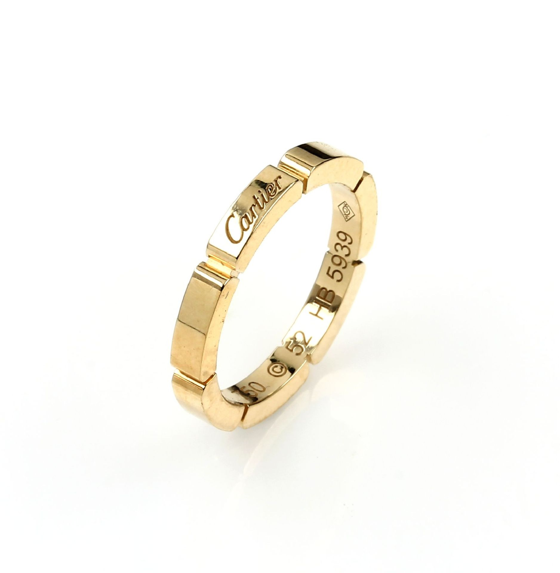 """Los 61560 - 18 kt gold CARTIER wedding ring """"Maillon Panthere"""" , YG 750/000, signed and num., ringsize 5218 kt"""