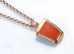 18 kt gold pendant with coral and brilliants , YG 750/000, chain l. approx. 42 cm, manufacturer's