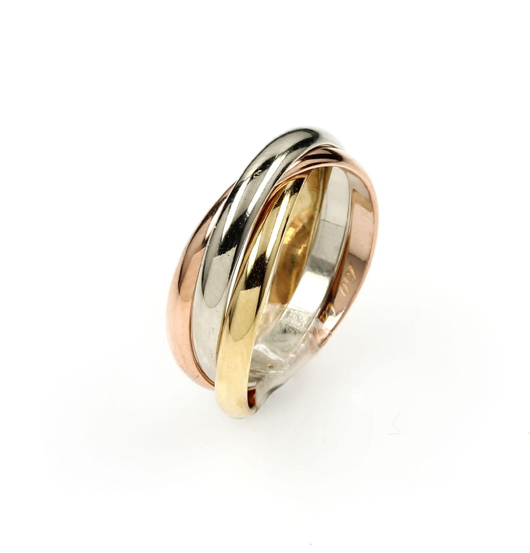 Los 61538 - 18 kt gold CARTIER Trinity ring , YG/WG/RoseG 750/000, classic Trinity design, ringsize 51, signed