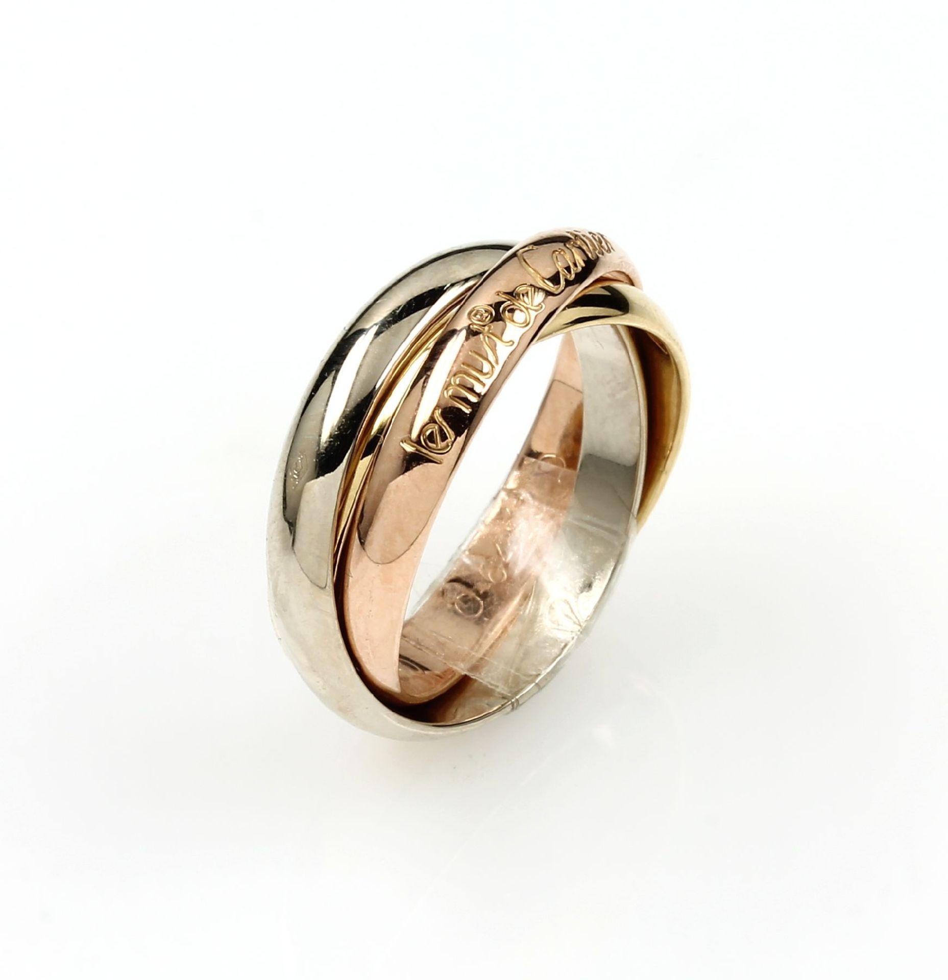Los 61547 - 18 kt gold Le Must de CARTIER Trinity ring ,YG/WG/RoseG 750/000, classic Trinity design, signed