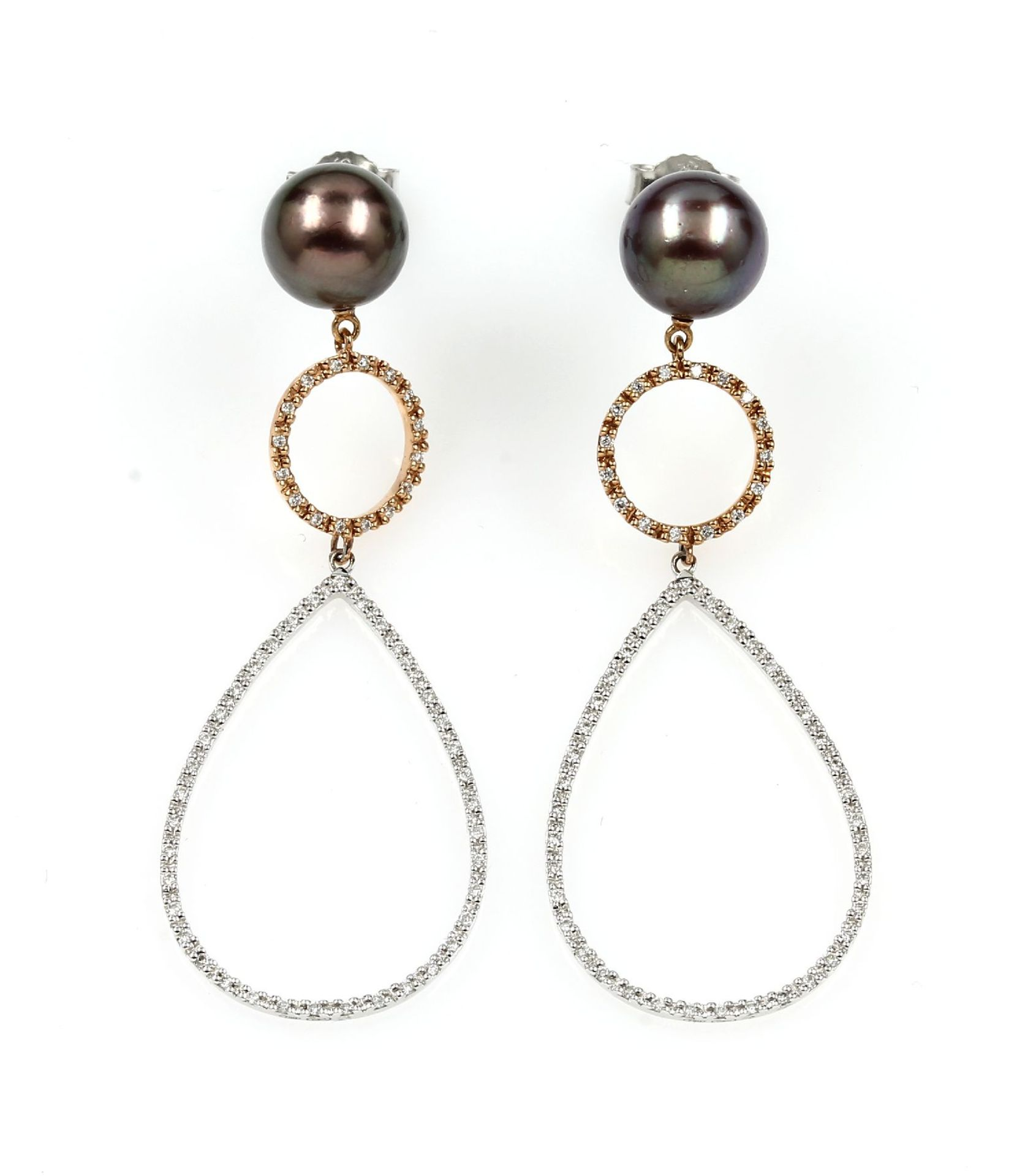 Los 61537 - Pair of 18 kt gold earrings with pearls and diamonds , RoseG/WG 750/000, anthrazit coloured cultured