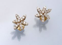 Pair of 18 kt gold earrings with brilliants , YG 750/000, brilliants total approx. 1.20 ct