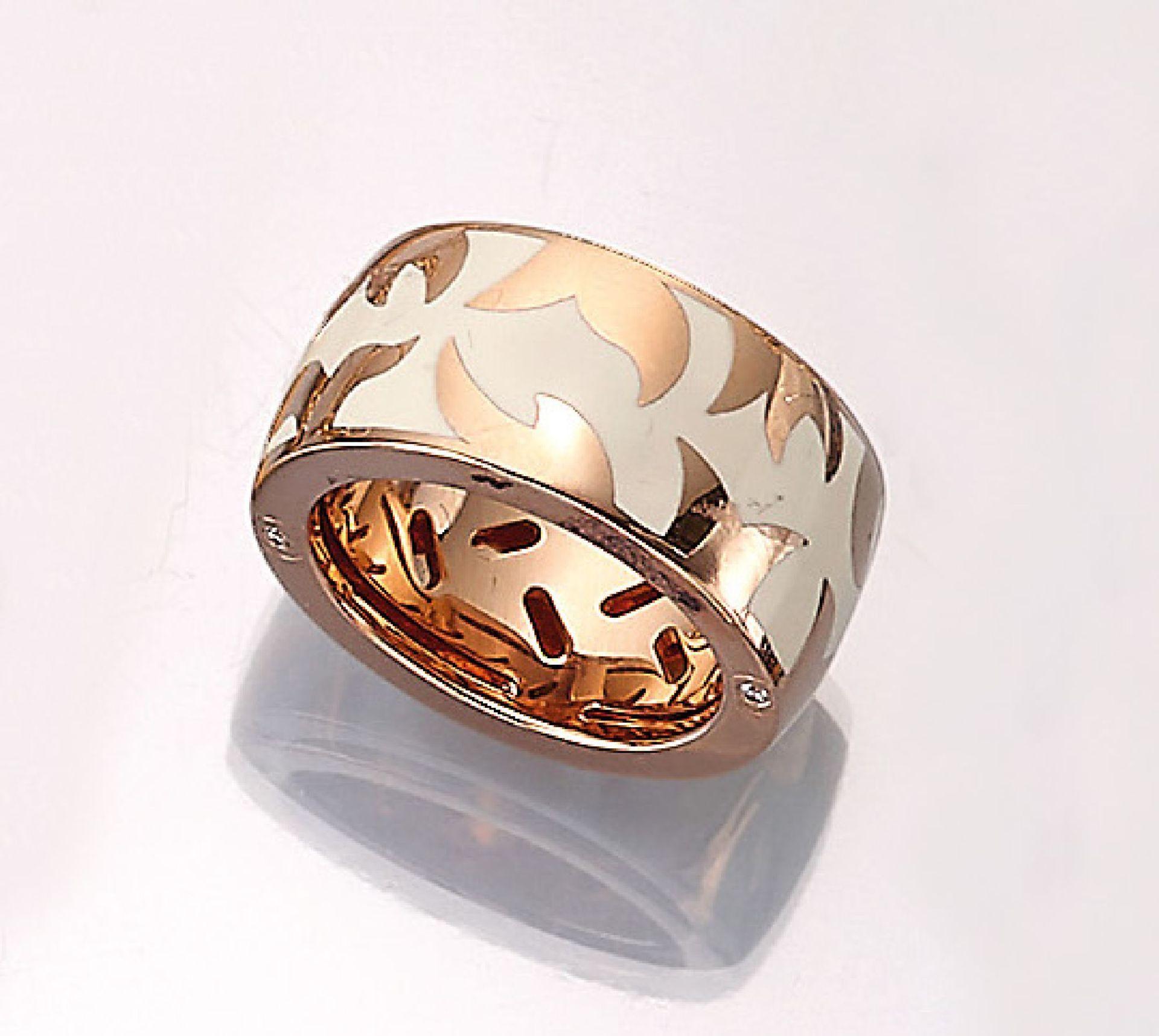 Los 61523 - 18 kt gold LEO WITTWER ring with enamel , RoseG 750/000, cream white enameled elements, ringsize 55,