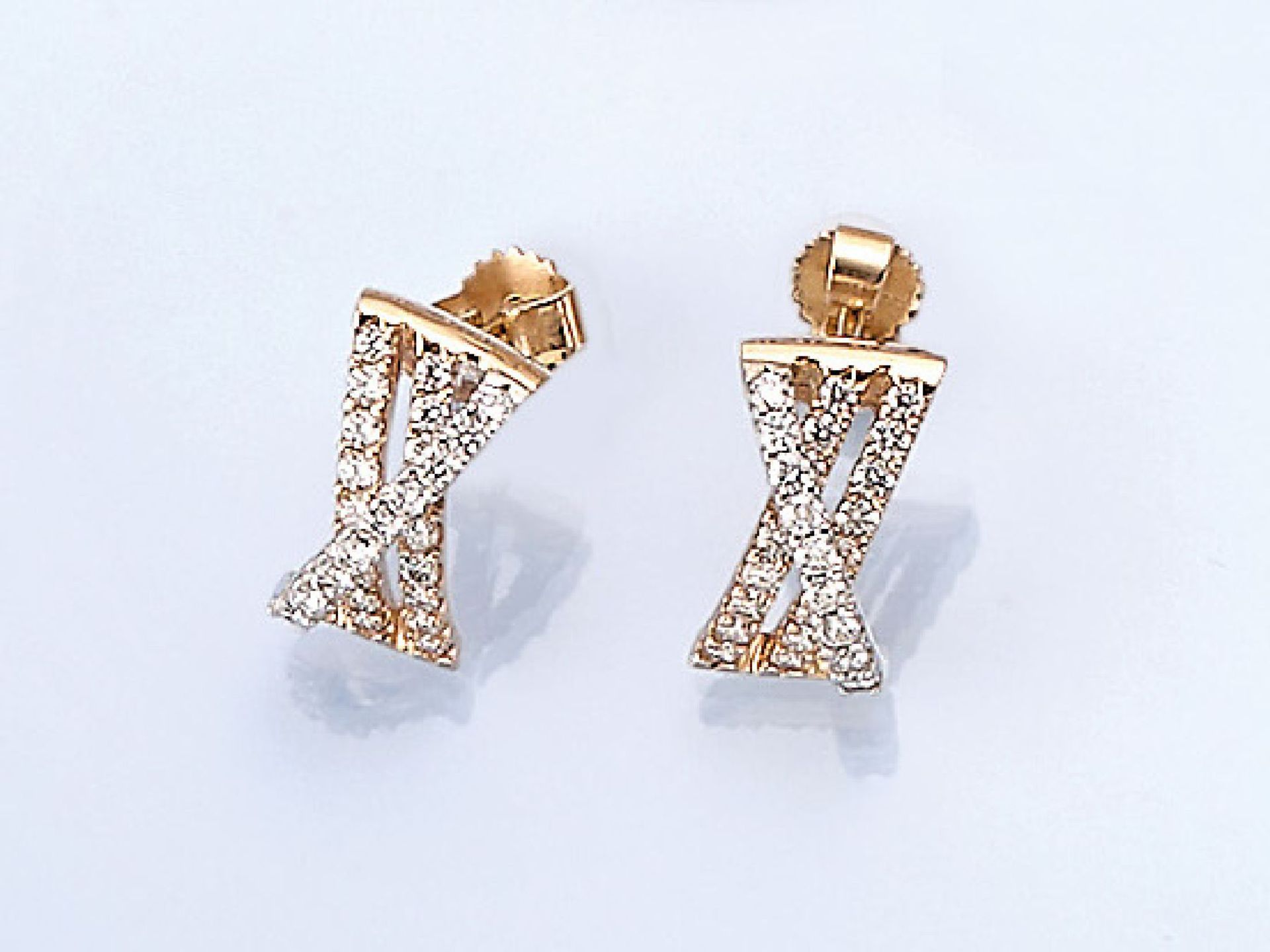 Los 61530 - Pair of 14 kt gold earrings with brilliants , YG/WG 585/000, brilliants total approx. 0.60 ct