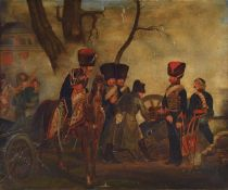 Unidentified artist, probably France, around 1830, Napoleon Bonaparte inspecting a cannon, oil /