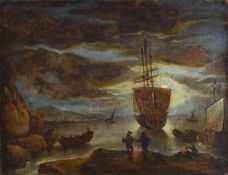 Unidentified artist, probably Belgium, 18th C., full moon night, sailing ship on the shore, oil /