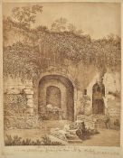 Johannes Ruland, 1744-1830 Speyer, Fontana Egeria near Rome, sepia drawing on paper, inscribed:
