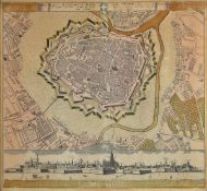 Original map, around 1730, Vienna from above, old colored, tanned, smoothed crease, approx. 50x55cm,
