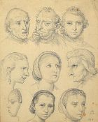Andreas Müller, 1831-1901, student of Schraudolph, here: two sketch sheets with head studies, pencil