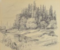 Attribution: Karl Graf, 1902-1986 Speyer, at the edge of the forest, pencil drawing on paper,