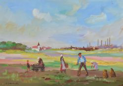 Fritz Zolnhofer, 1896 Wolfstein-1965 Saarbrücken, Harvest scene, in the background village and