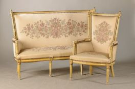 Salon group, Louis-Seize-style, around 1900, bench and two armchair, softwood light painted,