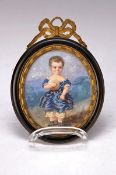 Miniaturmalerei, France, around 1850, little boy with ball and whip, watercolor on paper, on the