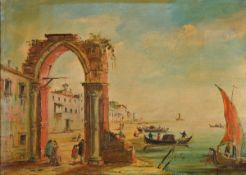 Unidentified artist, Italy, around 1900, 2 counterparts with Italian harbor views, oil / canvas,