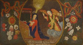 Votive picture, southern German, 18th C., Annunciation, oil / rough canvas, inscribed: Sey gegrüsset