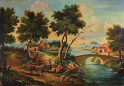 Unidentified artist, around 1910-20, Ideal italian landscape after the old antetype, oil / canvas,