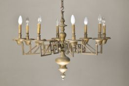 Large Ceiling lamp, around 1780-1810, Bronze, 8 focal points, neo-classical, geometrical decor,