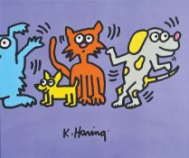 Keith Haring, 1958-1990, two-part color screenprint, stamp: authorized by the estate of Keith