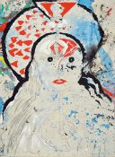 Dieter Korbanka, 1936-2010, Asia Girl, acrylicand pencil on canvas, collaged with second canvas,