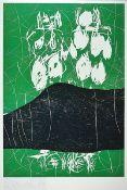 "Georg Baselitz, 1944 - 2019, offset lithographon thick cardboard, # ""Der Berg #"", from 1993,hand"