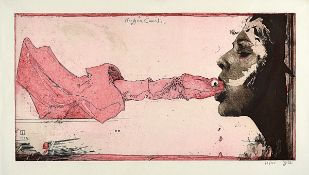 Horst Janssen, 1929-1995, color etching of three plates, signed by hand and num. 76/100, dated 1992,