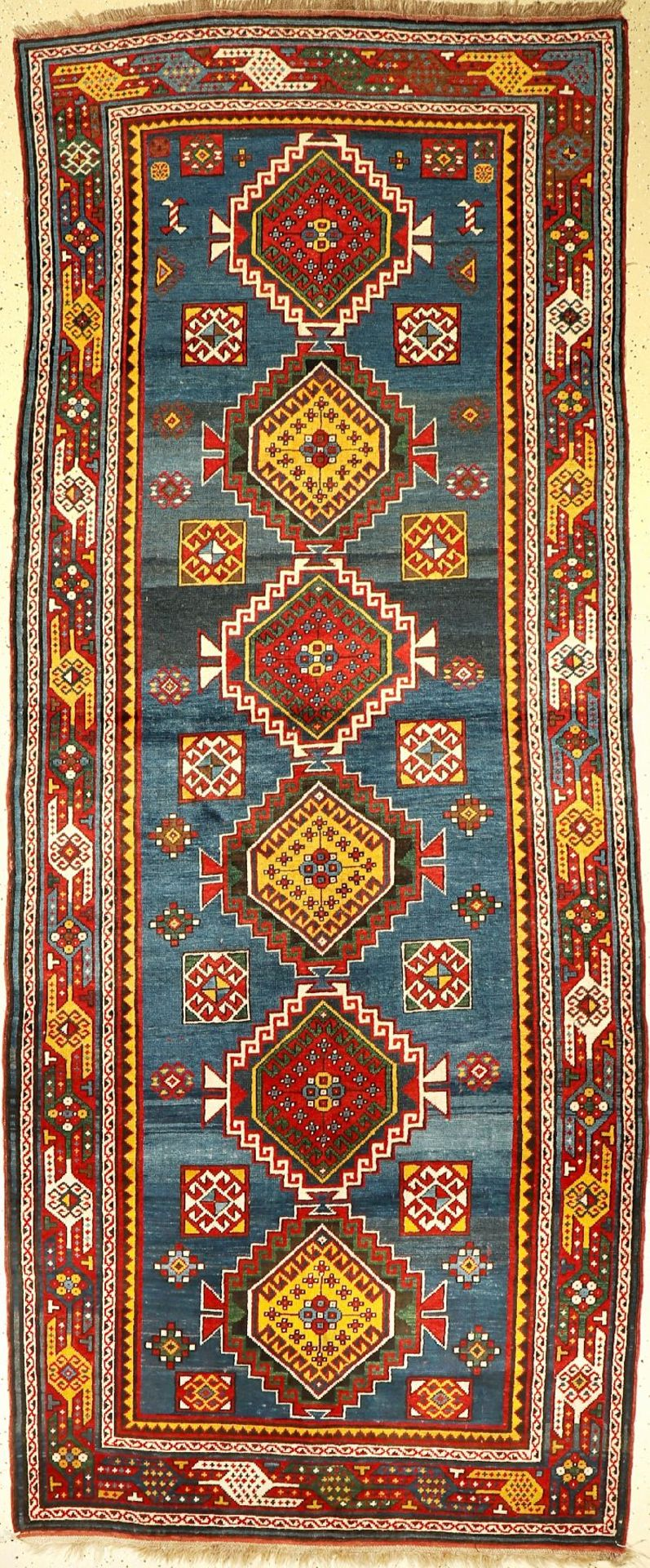 Kasak antik, Kaukasus, um 1900, Wolle auf Wolle, ca. 324 x 130 cm, selten, Sammelwürdig,EHZ: 2,