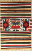 Südamerika Decke alt, um 1950, Wolle auf Wolle, ca. 200 x 132 cm, EHZ: 2