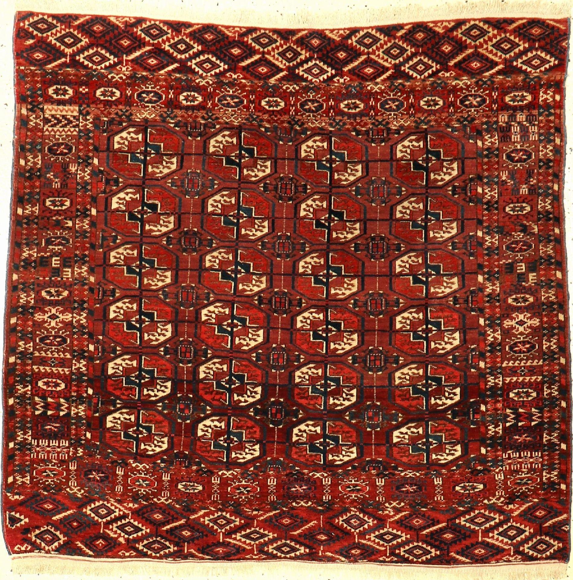 Tekke Bochara Herdteppich, Turkmenistan, um1930/1940, Wolle auf Wolle, ca. 115 x 110 cm, EHZ: 2