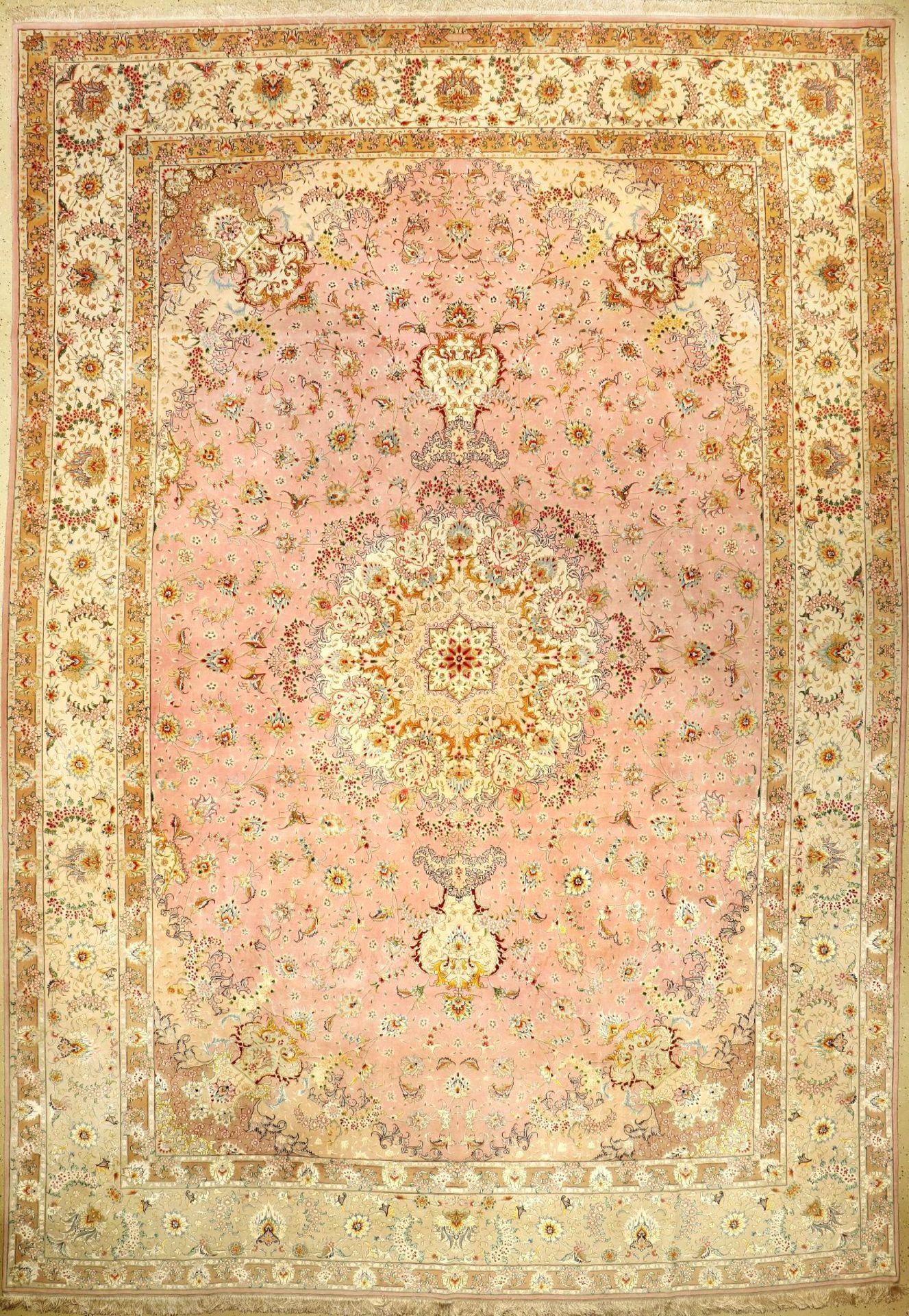 Feiner Täbriz Palastteppich (Part-Silk) Signiert (50 RAJ), Persien, um 1960/1970, Korkwolle mit viel