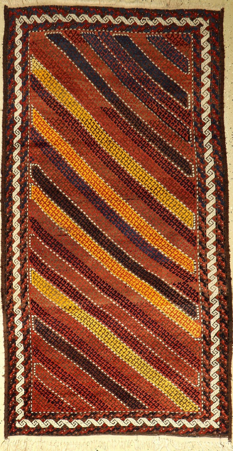 Seltener Streifen Belutsch, alt, Persien, um 1940, Wolle auf Wolle, ca. 187 x 99 cm, dekorativ, EHZ: