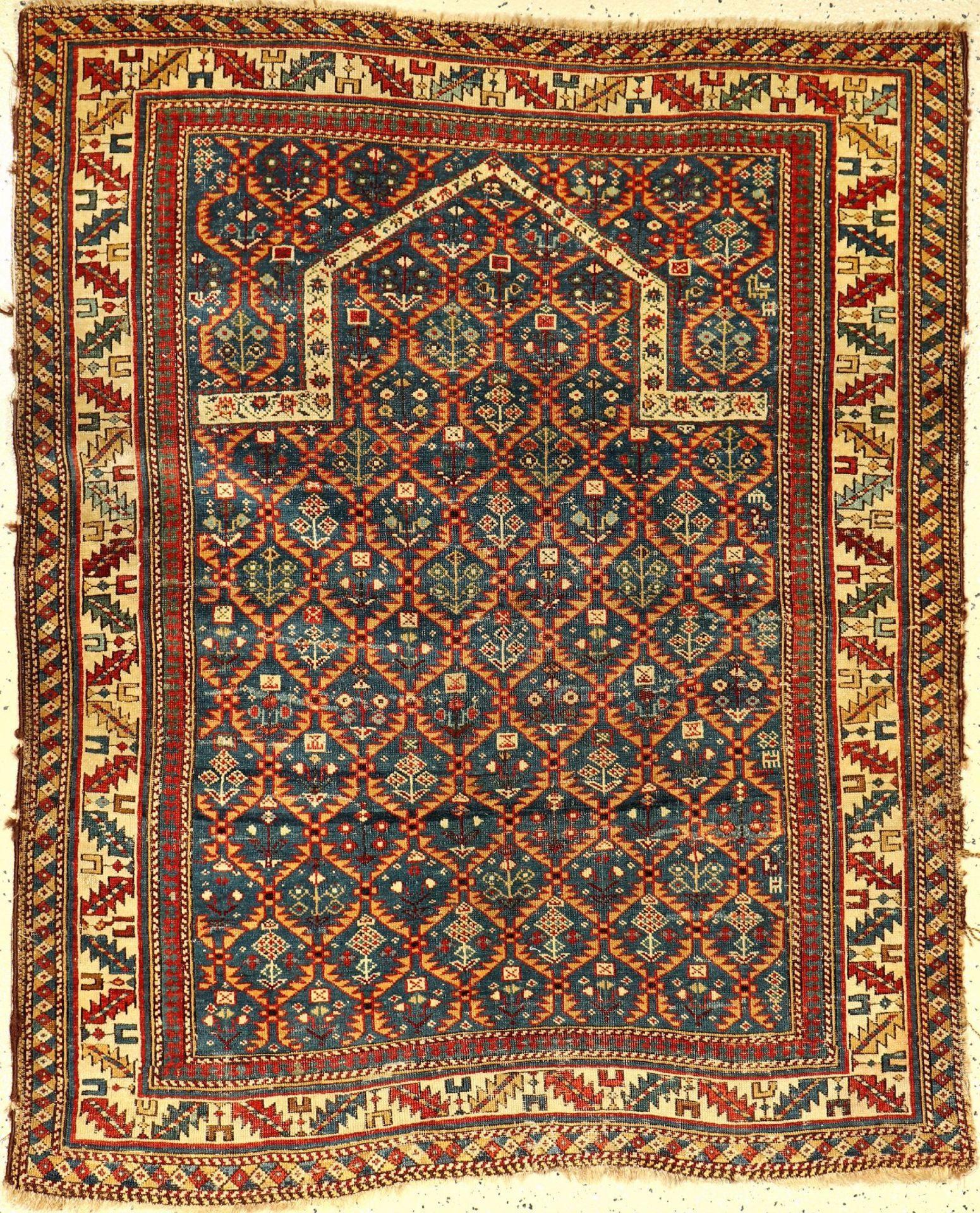Kuba Schirwan Gebetsteppich, antik, Kaukasus, 19.Jhd., Wolle auf Wolle, ca. 140 x 110 cm, (Alters