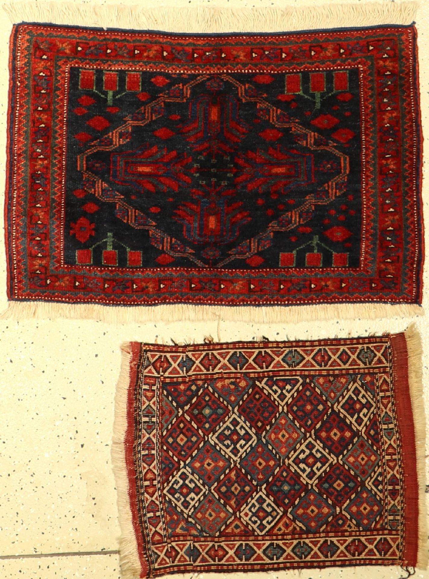 (2 Lots) 1xAfshar 1xKordi, Persien, um 1900, Wolle auf Wolle, EHZ: 2-3