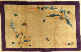 Peking alt, China, um 1940, Korkwolle, ca. 188 x 117 cm, dekorativ, Drache & Phönyx, EHZ:2-3