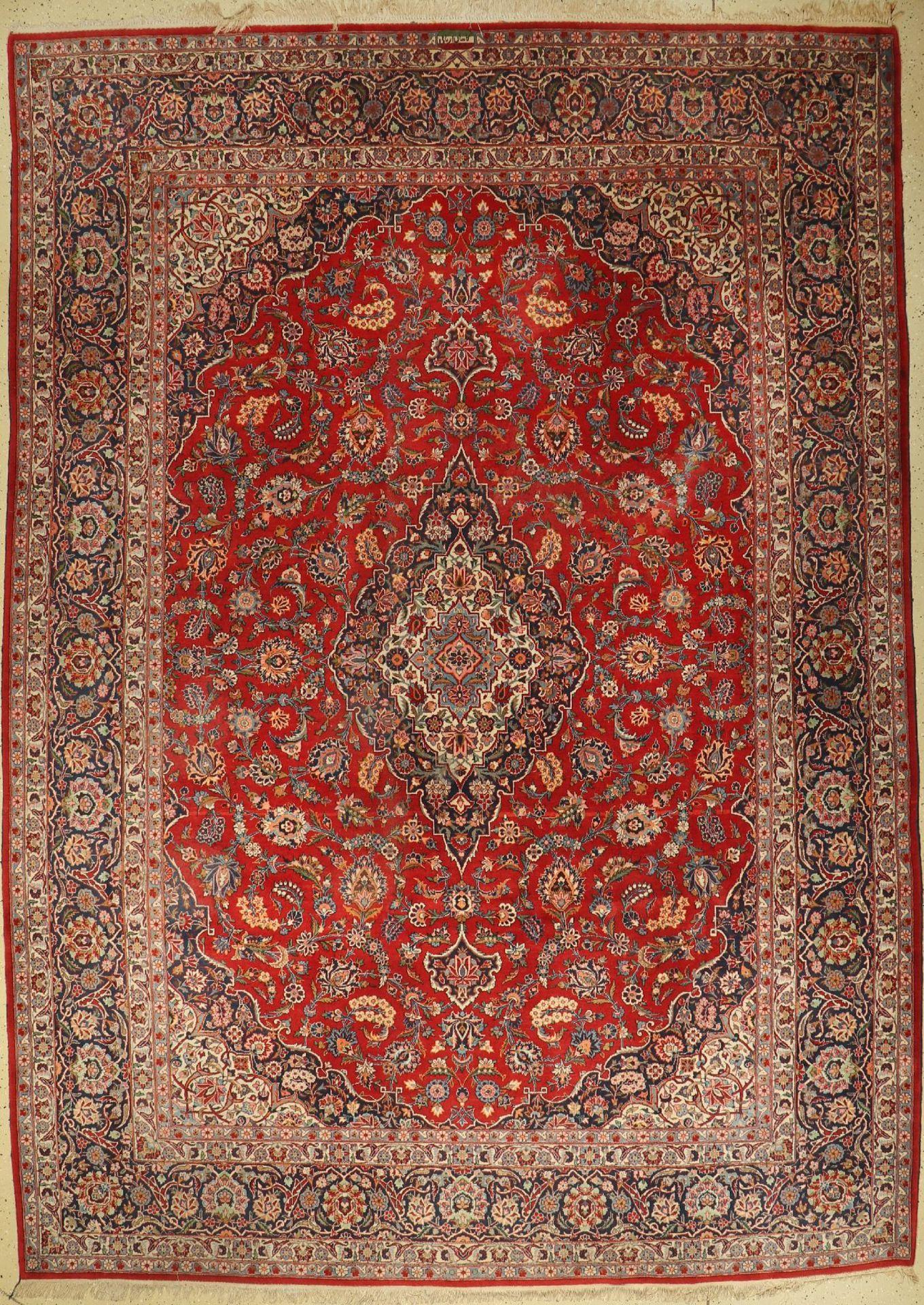 Keschan Kork alt (Signiert), Persien, um 1950, Korkwolle, ca. 378 x 268 cm, EHZ: 2-3