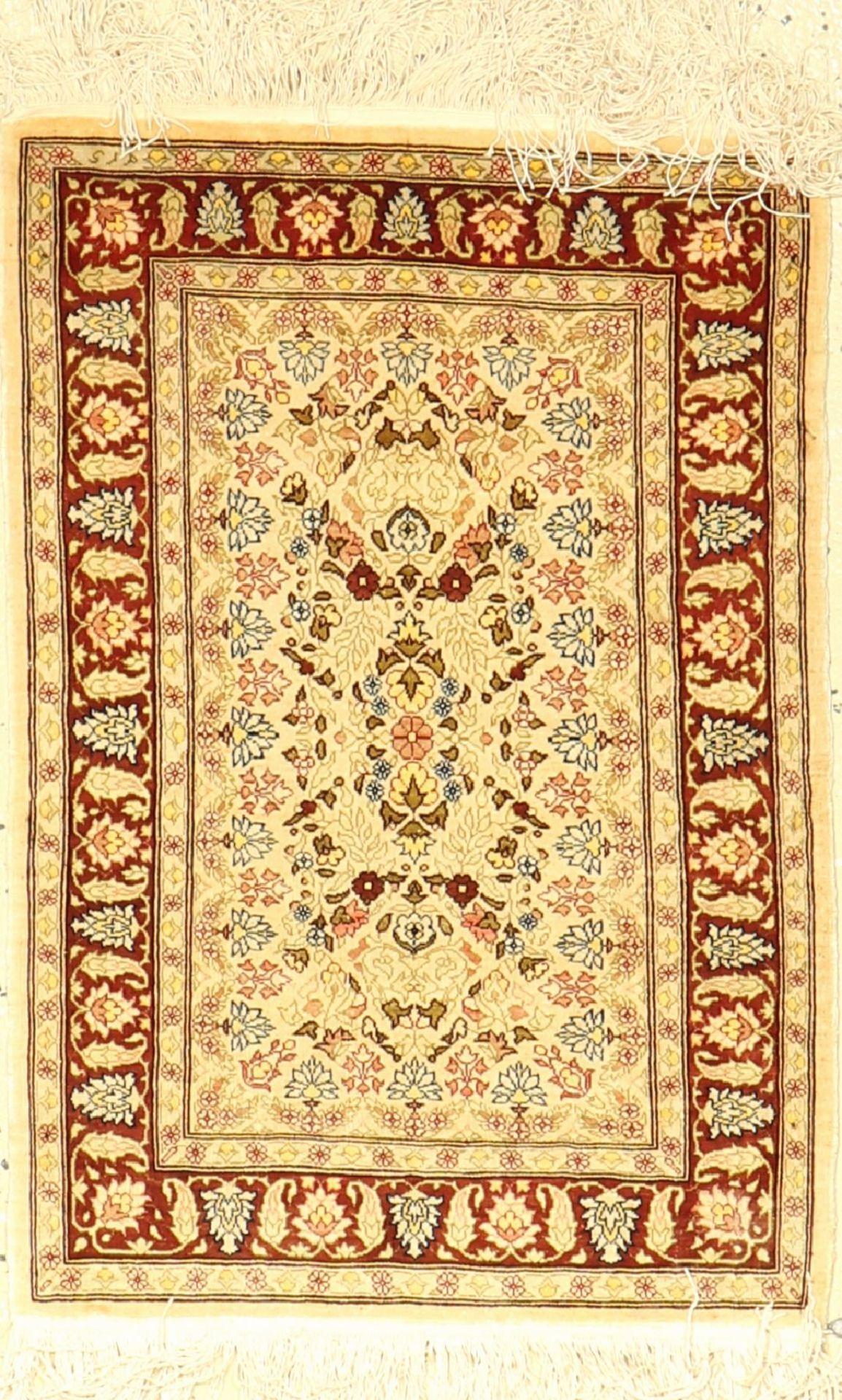 Seiden Hereke alt, Signiert, Türkei, ca. 50Jahre, reine Naturseide, ca. 68 x 45 cm, EHZ: 2