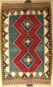 Gaschgai Kelim alt, Persien, um 1940, Wolleauf Wolle, ca. 226 x 147 cm, EHZ: 2, (Wellig)