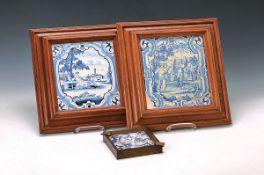 Zwei Fayencebilder, Frankfurt und Hanau, um 1720-1770, und eine Fliese als Aschenbecher, gefaßt,