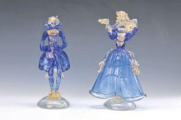 Paar Skulpturen, Murano Italien, 20. Jh., Rokokopaar, mundgeblasenes Glas mit eingeschmolzenem
