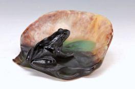 Zierschale, Daum Nancy, 2. H. 20. Jh., blattförmige Schale mit plastischem Frosch, pate-de-Verre,