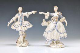Paar Porzellanfiguren, Nymphenburg, nach Frankenthaler Vorbild, Tanzendes Rokokopaar, sparsam blau