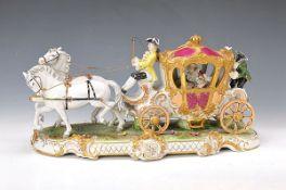 Große Porzellanfigurengruppe, Unterweissbach, 20. Jh., zweispännige Kutsche mit Kutscher, Edeldame