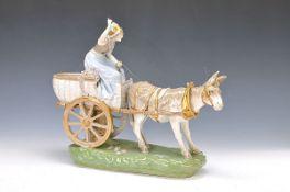 Große Porzellanfigur, Amphora Austria, um 1900, Junge Frau auf einem Eselskarren, bunt bemalt und